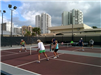Two games of pickleball being played